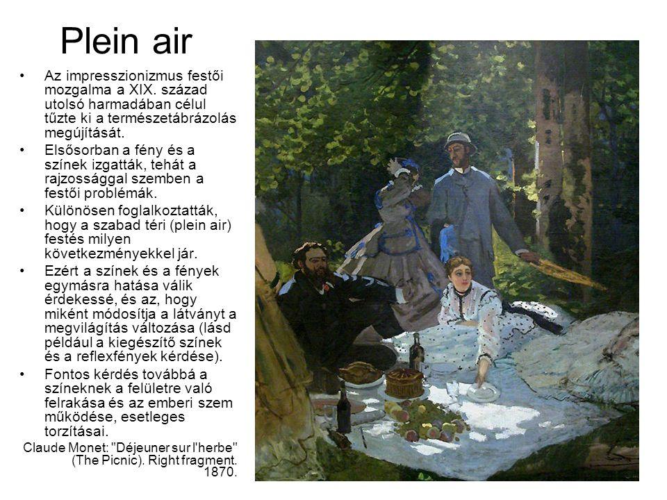 Plein air Az impresszionizmus festői mozgalma a XIX. század utolsó harmadában célul tűzte ki a természetábrázolás megújítását. Elsősorban a fény és a