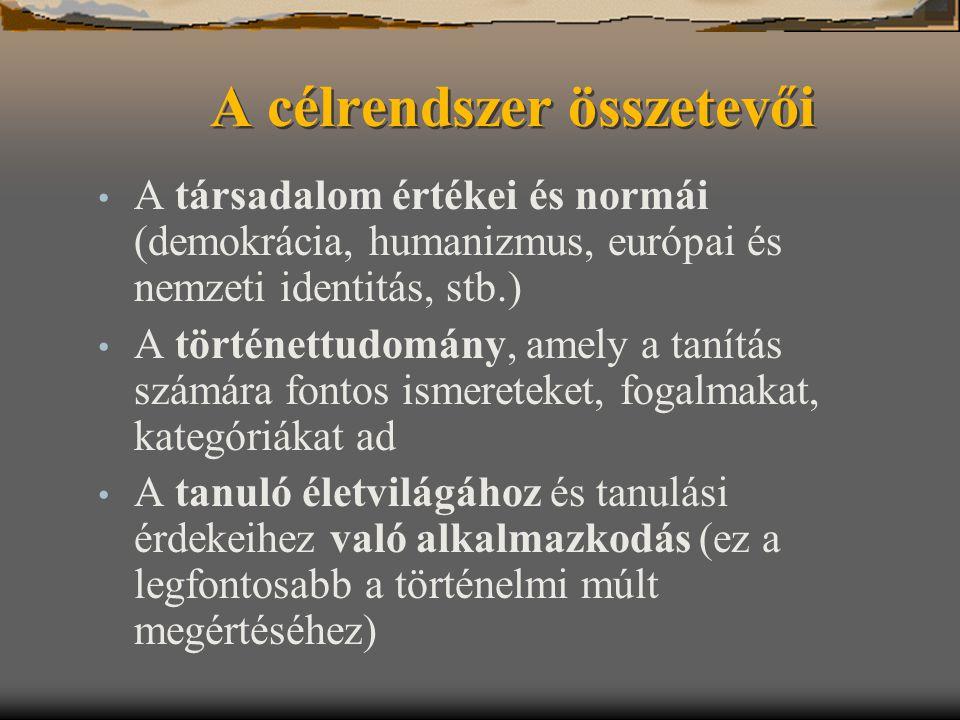 A célrendszer összetevői A társadalom értékei és normái (demokrácia, humanizmus, európai és nemzeti identitás, stb.) A történettudomány, amely a tanít