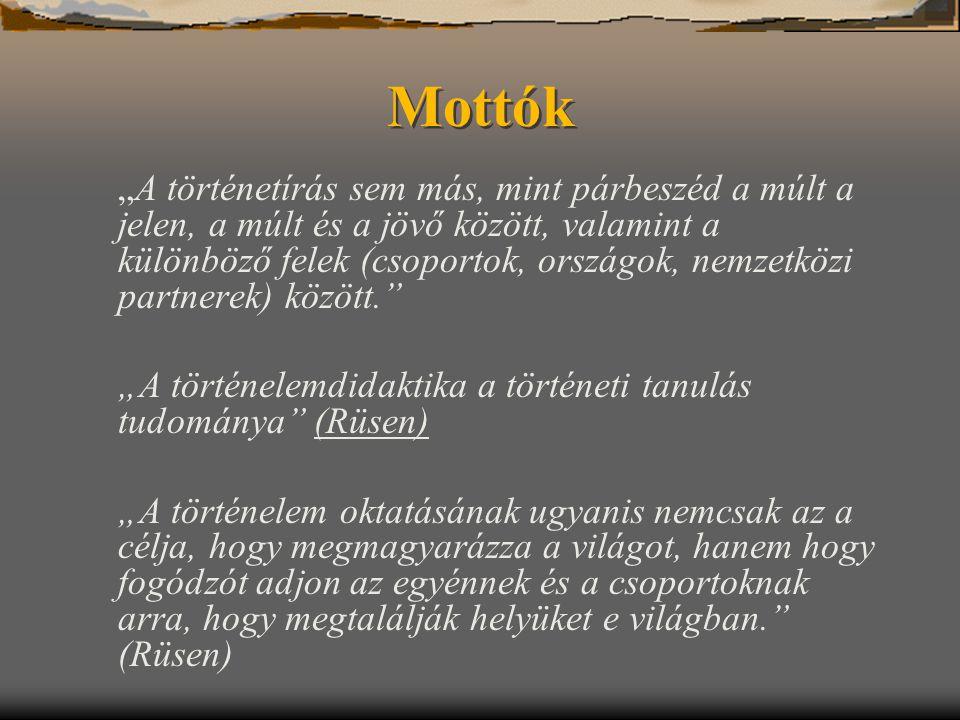 """Mottók """"A történetírás sem más, mint párbeszéd a múlt a jelen, a múlt és a jövő között, valamint a különböző felek (csoportok, országok, nemzetközi pa"""