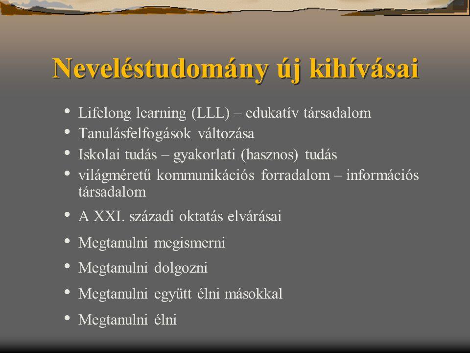Neveléstudomány új kihívásai Lifelong learning (LLL) – edukatív társadalom Tanulásfelfogások változása Iskolai tudás – gyakorlati (hasznos) tudás vilá