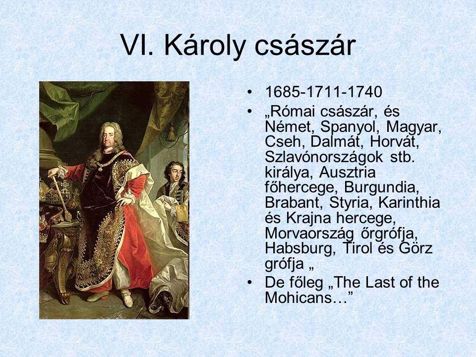 """VI. Károly császár 1685-1711-1740 """"Római császár, és Német, Spanyol, Magyar, Cseh, Dalmát, Horvát, Szlavónországok stb. királya, Ausztria főhercege, B"""