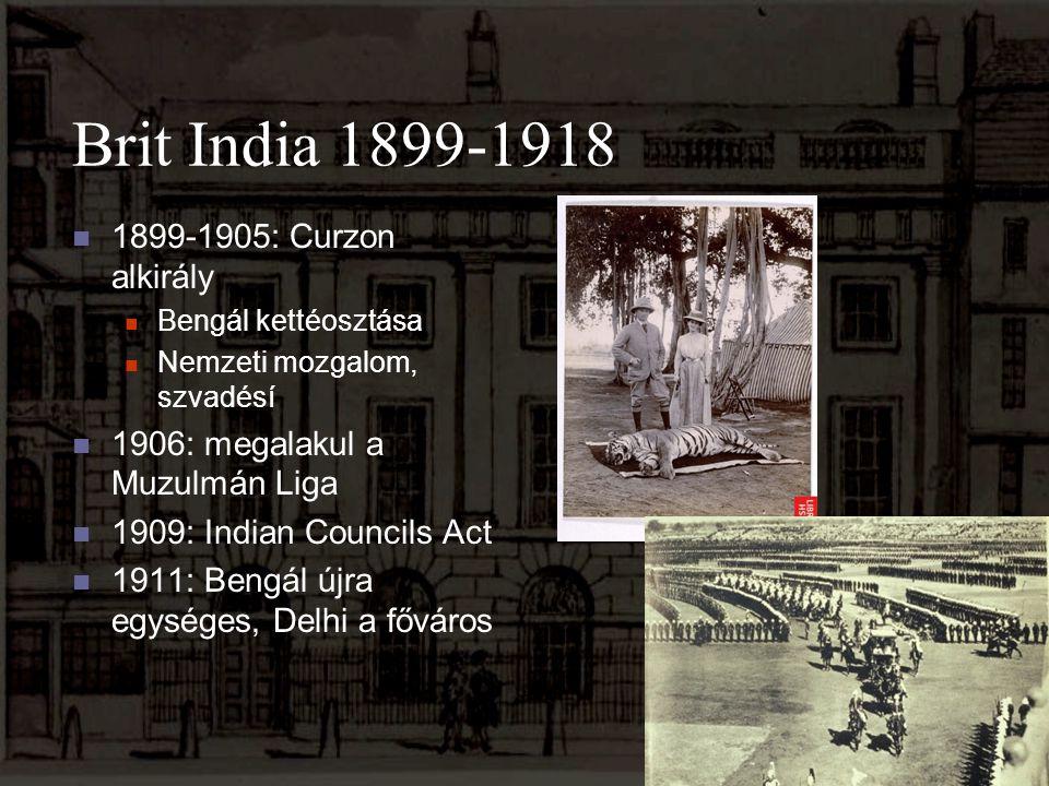 Brit India 1899-1918 1899-1905: Curzon alkirály Bengál kettéosztása Nemzeti mozgalom, szvadésí 1906: megalakul a Muzulmán Liga 1909: Indian Councils A