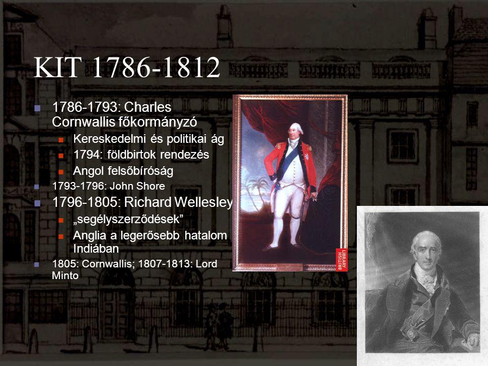 KIT 1786-1812 1786-1793: Charles Cornwallis főkormányzó Kereskedelmi és politikai ág 1794: földbirtok rendezés Angol felsőbíróság 1793-1796: John Shor