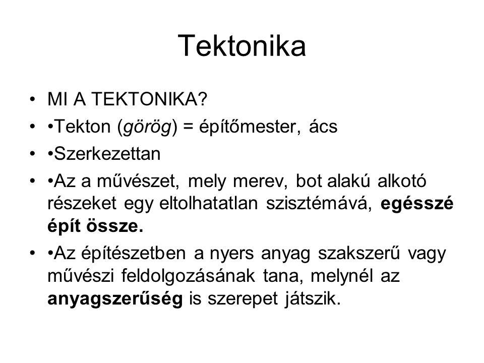 Tektonika MI A TEKTONIKA? Tekton (görög) = építőmester, ács Szerkezettan Az a művészet, mely merev, bot alakú alkotó részeket egy eltolhatatlan sziszt