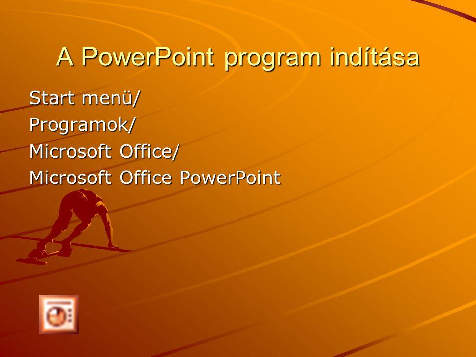 A PowerPoint program indítása Start menü/ Programok/ Microsoft Office/ Microsoft Office PowerPoint