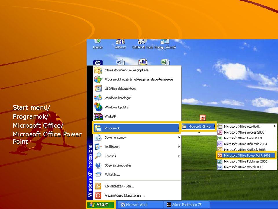 Start menü/ Programok/ Microsoft Office/ Microsoft Office Power Point