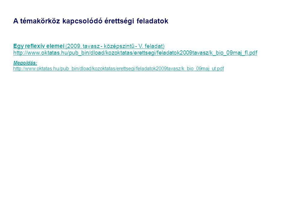 A témakörköz kapcsolódó érettségi feladatok Egy reflexív elemei (2009. tavasz - középszintű - V. feladat) http://www.oktatas.hu/pub_bin/dload/kozoktat