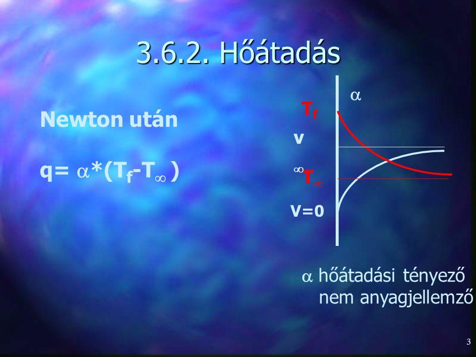 3 3.6.2. Hőátadás TfTf TT V=0V=0 vv   hőátadási tényező nem anyagjellemző Newton után q=  *(T f -T  )