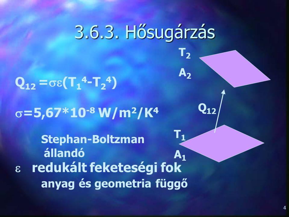 4 3.6.3. Hősugárzás T1A1T1A1 T2A2T2A2 Q 12 Q 12 =  (T 1 4 -T 2 4 )  =5,67*10 -8 W/m 2 /K 4 Stephan-Boltzman állandó  redukált feketeségi fok anyag