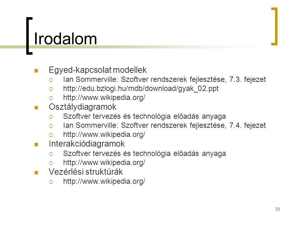 33 Irodalom Egyed-kapcsolat modellek  Ian Sommerville: Szoftver rendszerek fejlesztése, 7.3. fejezet  http://edu.bzlogi.hu/mdb/download/gyak_02.ppt