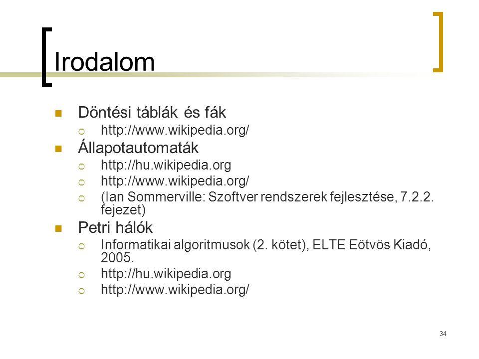 34 Irodalom Döntési táblák és fák  http://www.wikipedia.org/ Állapotautomaták  http://hu.wikipedia.org  http://www.wikipedia.org/  (Ian Sommervill