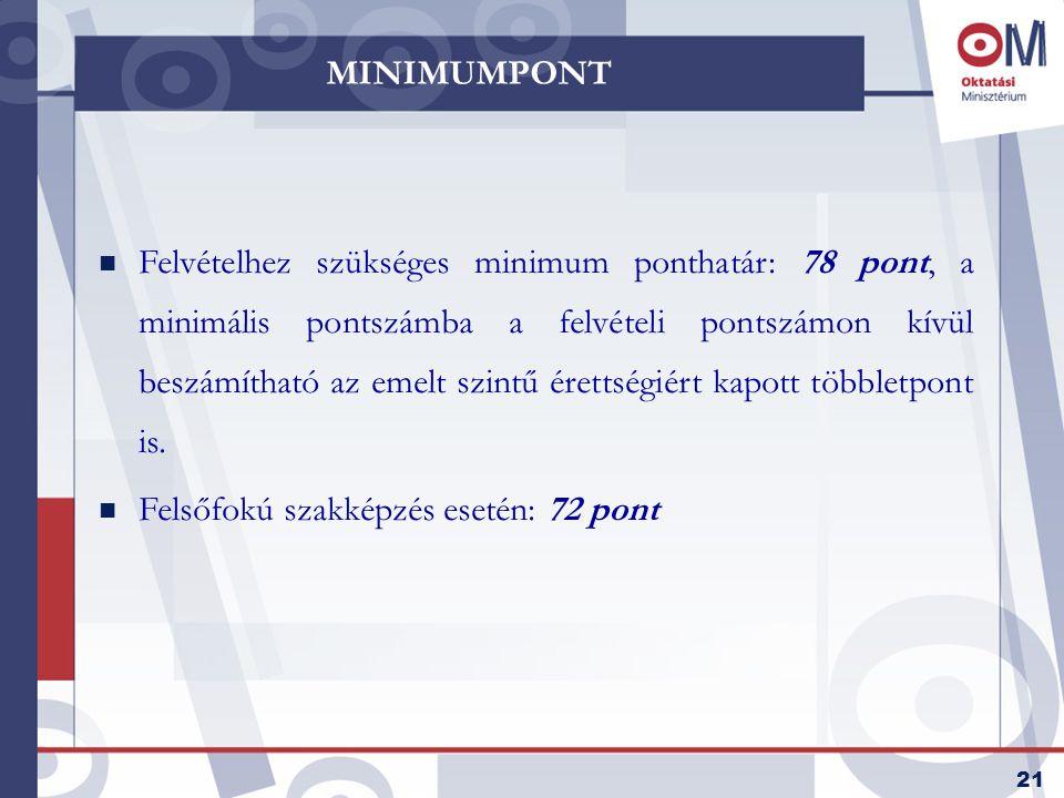 21 MINIMUMPONT n Felvételhez szükséges minimum ponthatár: 78 pont, a minimális pontszámba a felvételi pontszámon kívül beszámítható az emelt szintű érettségiért kapott többletpont is.