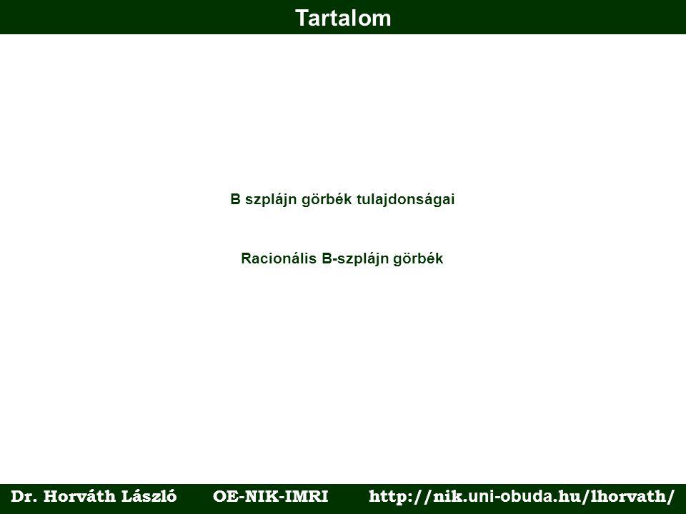 Tartalom Racionális B-szplájn görbék B szplájn görbék tulajdonságai Dr. Horváth László OE-NIK-IMRI http://nik. uni-obuda.hu/lhorvath/