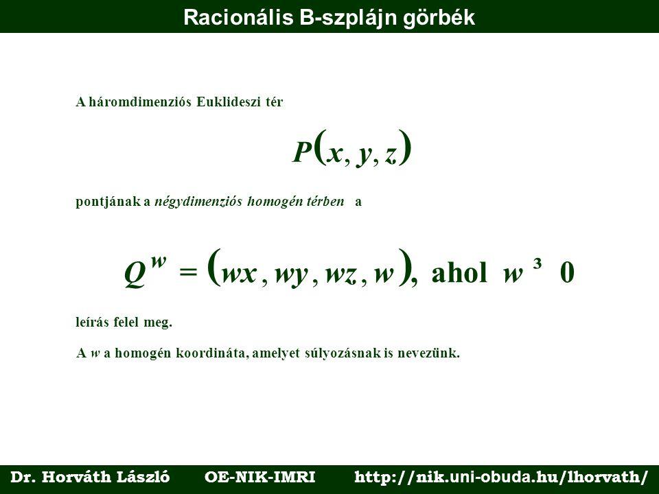 Racionális B-szplájn görbék A háromdimenziós Euklideszi tér () Pxyz,, pontjának a négydimenziós homogén térbena () Qwxwywzww w =, ahol,,, ³ 0 leírás f