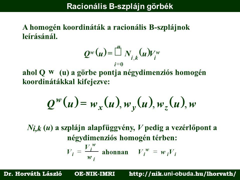 Racionális B-szplájn görbék A homogén koordináták a racionálisB-szplájnok leírásánál.  QuNuV w ik i n i w   , 0 ahol Q w (u) a görbe pontja nég