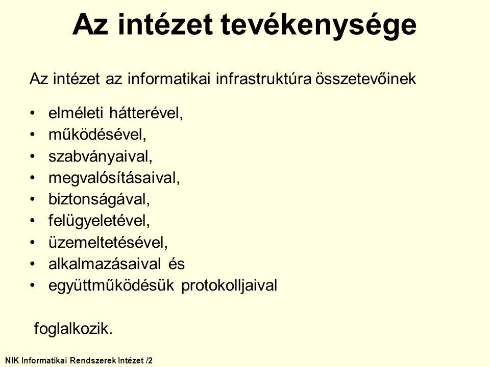 NIK Informatikai Rendszerek Intézet /2 Az intézet az informatikai infrastruktúra összetevőinek elméleti hátterével, működésével, szabványaival, megval