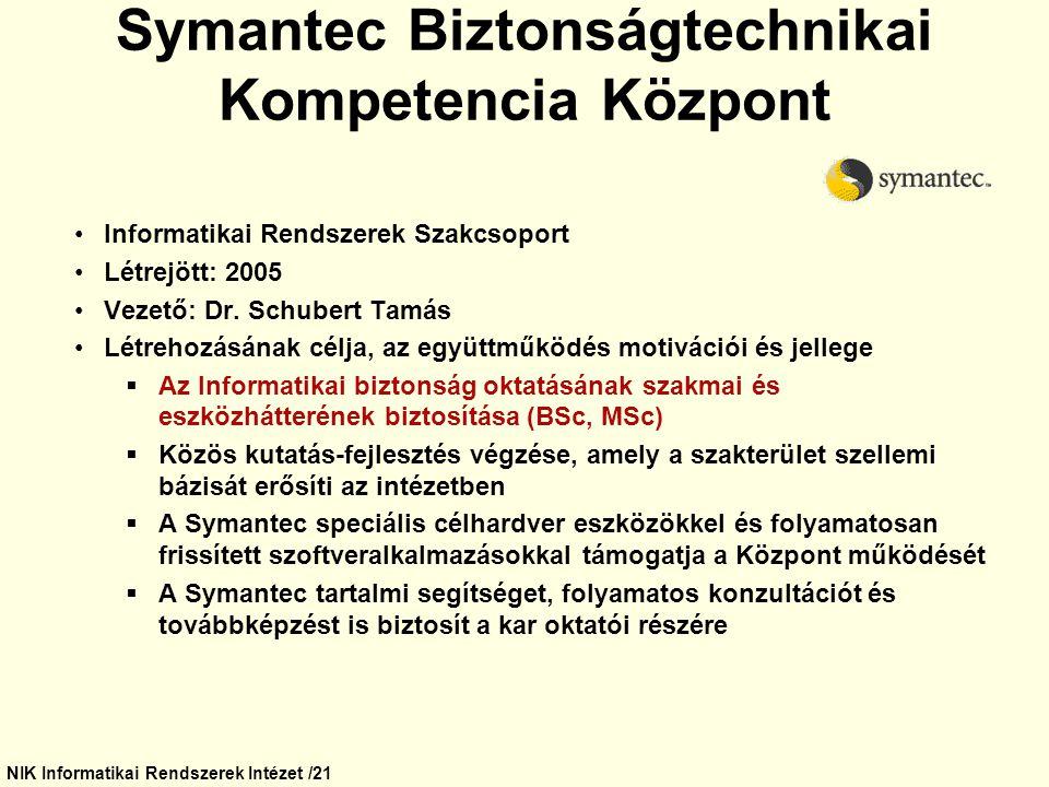 NIK Informatikai Rendszerek Intézet /21 Symantec Biztonságtechnikai Kompetencia Központ Informatikai Rendszerek Szakcsoport Létrejött: 2005 Vezető: Dr