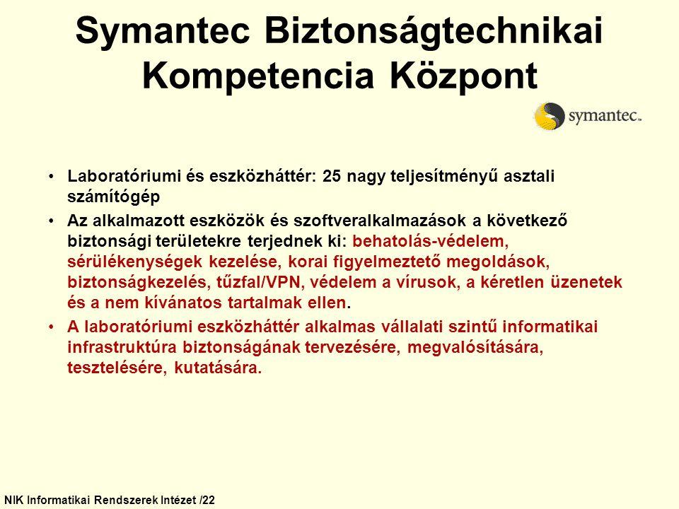 NIK Informatikai Rendszerek Intézet /22 Symantec Biztonságtechnikai Kompetencia Központ Laboratóriumi és eszközháttér: 25 nagy teljesítményű asztali s