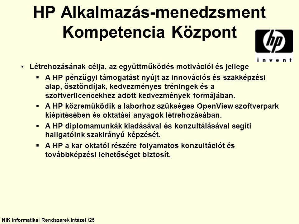 NIK Informatikai Rendszerek Intézet /25 HP Alkalmazás-menedzsment Kompetencia Központ Létrehozásának célja, az együttműködés motivációi és jellege  A