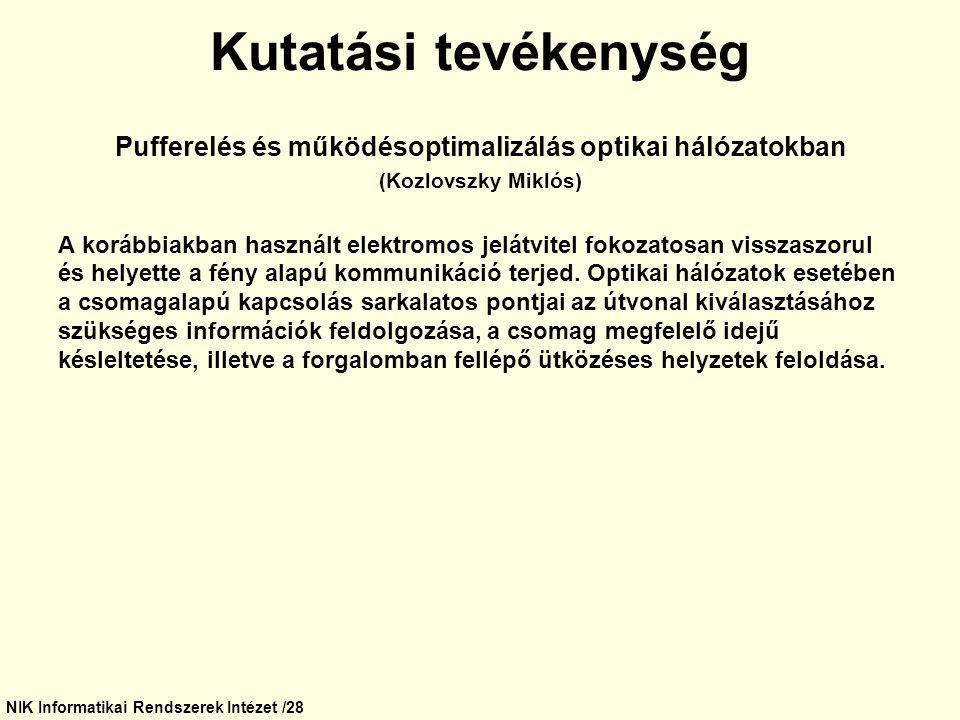 NIK Informatikai Rendszerek Intézet /28 Kutatási tevékenység Pufferelés és működésoptimalizálás optikai hálózatokban (Kozlovszky Miklós) A korábbiakba