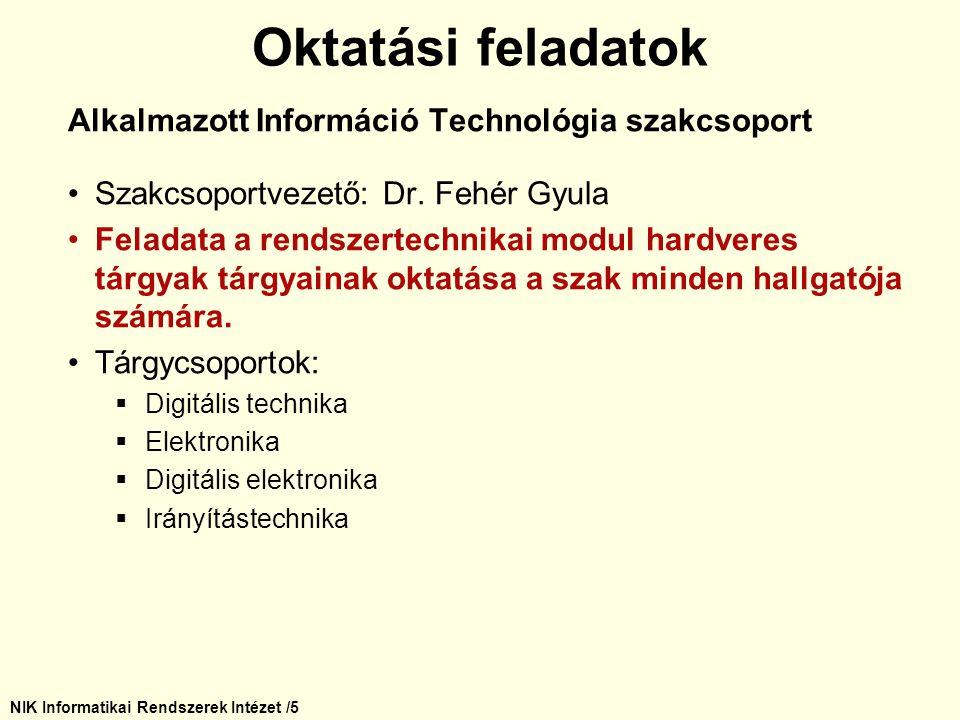 NIK Informatikai Rendszerek Intézet /5 Alkalmazott Információ Technológia szakcsoport Szakcsoportvezető: Dr. Fehér Gyula Feladata a rendszertechnikai