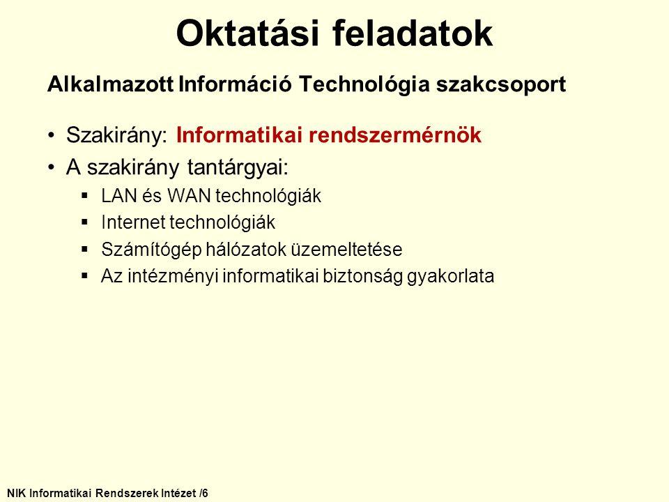 NIK Informatikai Rendszerek Intézet /6 Alkalmazott Információ Technológia szakcsoport Szakirány: Informatikai rendszermérnök A szakirány tantárgyai: 