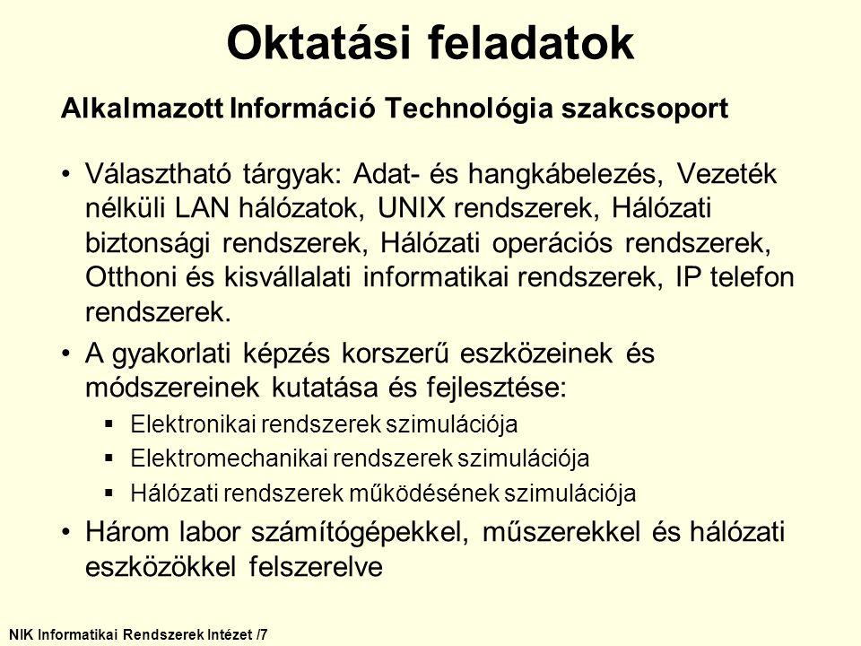 NIK Informatikai Rendszerek Intézet /28 Kutatási tevékenység Pufferelés és működésoptimalizálás optikai hálózatokban (Kozlovszky Miklós) A korábbiakban használt elektromos jelátvitel fokozatosan visszaszorul és helyette a fény alapú kommunikáció terjed.