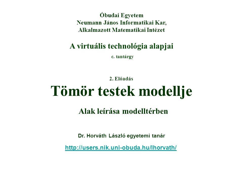 A virtuális technológia alapjai c. tantárgy Óbudai Egyetem Neumann János Informatikai Kar, Alkalmazott Matematikai Intézet 2. Előadás Tömör testek mod