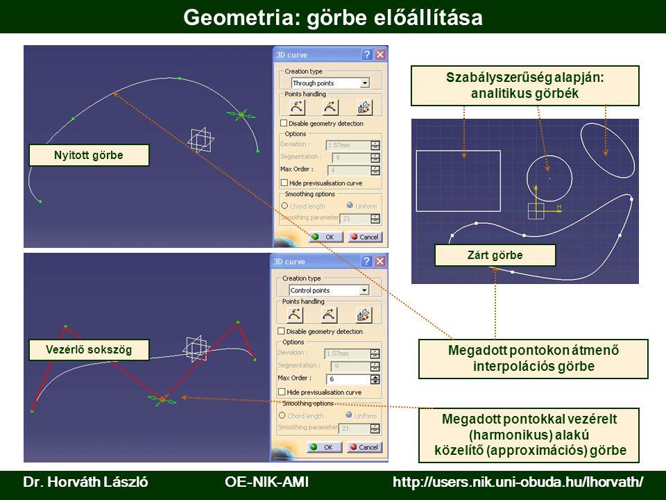 Geometria: görbe előállítása Nyitott görbe Szabályszerűség alapján: analitikus görbék Zárt görbe Vezérlő sokszög Megadott pontokon átmenő interpoláció