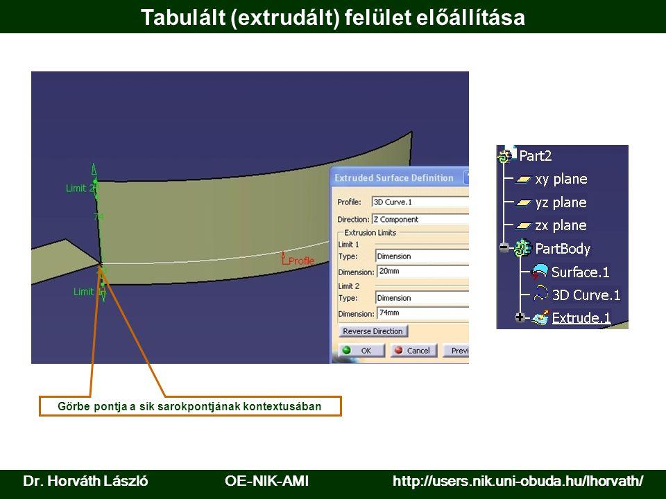 Tabulált (extrudált) felület előállítása Görbe pontja a sík sarokpontjának kontextusában Dr. Horváth László OE-NIK-AMI http://users.nik.uni-obuda.hu/l