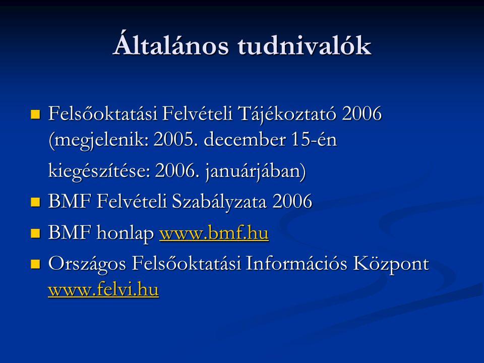 Általános tudnivalók Felsőoktatási Felvételi Tájékoztató 2006 (megjelenik: 2005.