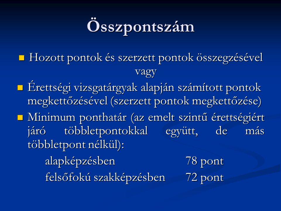 Hozott pontok Maximum 60 pont: Maximum 60 pont: Öt tantárgy (magyar nyelv és irodalom, történelem, matematika, választott tárgy (szakmai tárgy is lehet), választott idegen nyelv - nemzetiségi nyelv) utolsó két év végi jegyeinek összege Öt tantárgy (magyar nyelv és irodalom, történelem, matematika, választott tárgy (szakmai tárgy is lehet), választott idegen nyelv - nemzetiségi nyelv) utolsó két év végi jegyeinek összege ( maximum 50pont) Érettségi érdemjegyek átlagának kétszerese Érettségi érdemjegyek átlagának kétszerese (maximum 10 pont) Az érettségi évét követő 4.