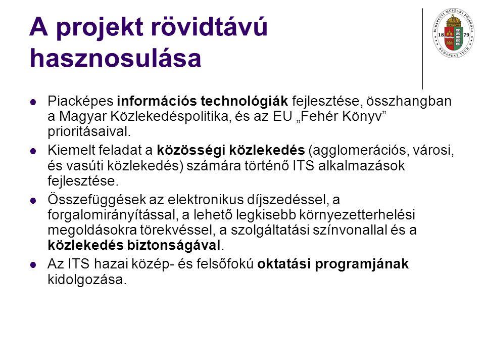 """A projekt rövidtávú hasznosulása Piacképes információs technológiák fejlesztése, összhangban a Magyar Közlekedéspolitika, és az EU """"Fehér Könyv prioritásaival."""
