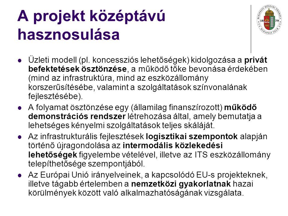A projekt középtávú hasznosulása Üzleti modell (pl.