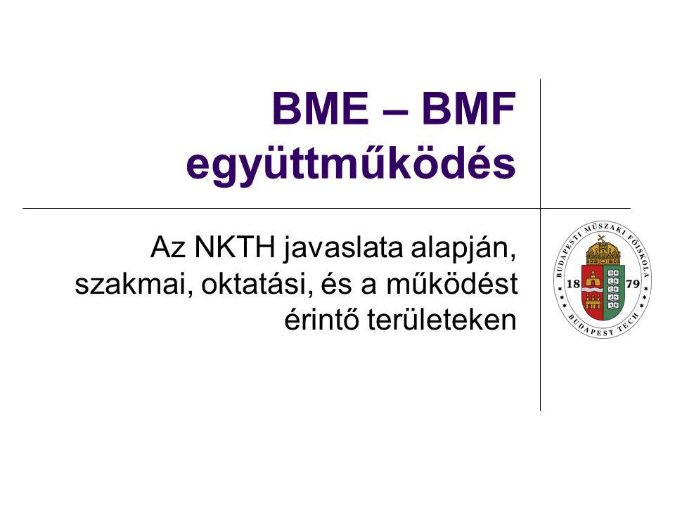 BME – BMF együttműködés Az NKTH javaslata alapján, szakmai, oktatási, és a működést érintő területeken