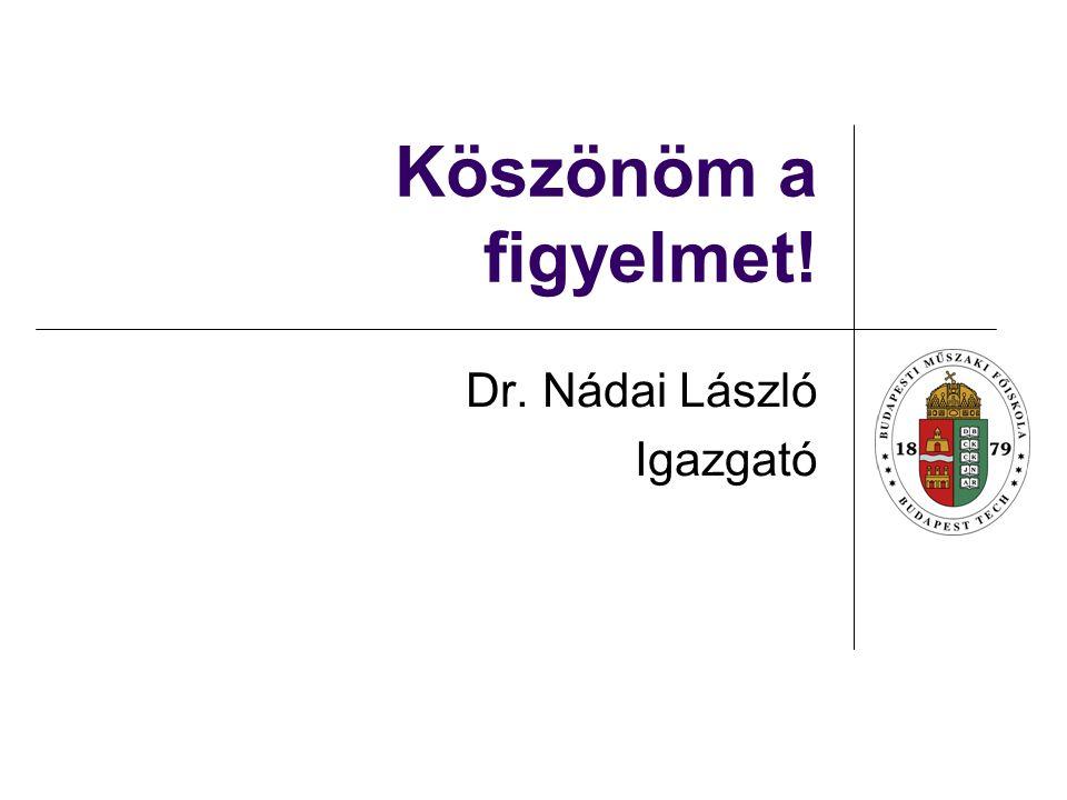 Köszönöm a figyelmet! Dr. Nádai László Igazgató