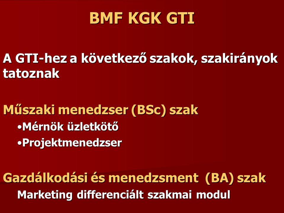 BMF KGK GTI A GTI-hez a következő szakok, szakirányok tatoznak Műszaki menedzser (BSc) szak Mérnök üzletkötőMérnök üzletkötő ProjektmenedzserProjektmenedzser Gazdálkodási és menedzsment (BA) szak Marketing differenciált szakmai modul