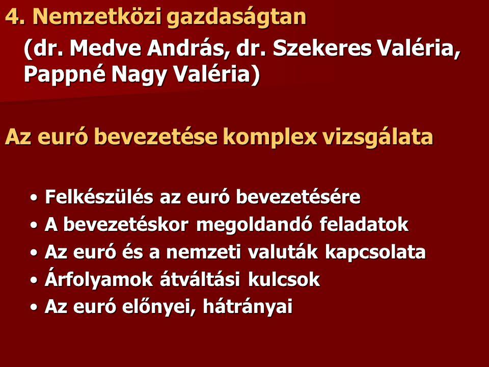 4. Nemzetközi gazdaságtan (dr. Medve András, dr. Szekeres Valéria, Pappné Nagy Valéria) Az euró bevezetése komplex vizsgálata Felkészülés az euró beve