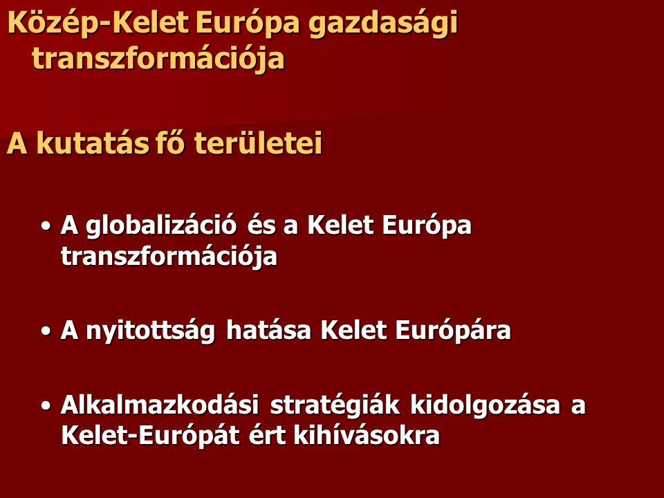 Közép-Kelet Európa gazdasági transzformációja A kutatás fő területei A globalizáció és a Kelet Európa transzformációjaA globalizáció és a Kelet Európa transzformációja A nyitottság hatása Kelet EurópáraA nyitottság hatása Kelet Európára Alkalmazkodási stratégiák kidolgozása a Kelet-Európát ért kihívásokraAlkalmazkodási stratégiák kidolgozása a Kelet-Európát ért kihívásokra