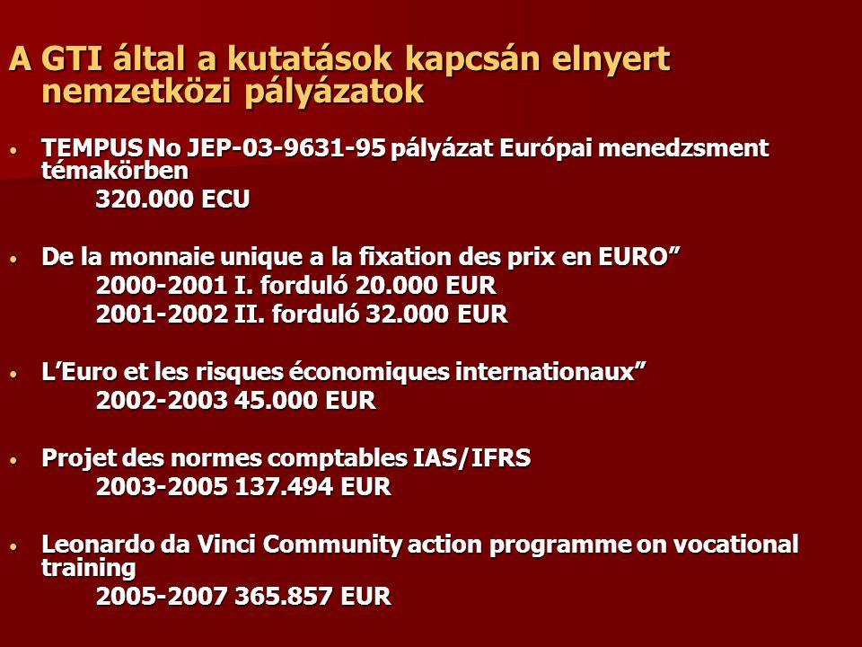 A GTI által a kutatások kapcsán elnyert nemzetközi pályázatok TEMPUS No JEP-03-9631-95 pályázat Európai menedzsment témakörben TEMPUS No JEP-03-9631-95 pályázat Európai menedzsment témakörben 320.000 ECU De la monnaie unique a la fixation des prix en EURO De la monnaie unique a la fixation des prix en EURO 2000-2001 I.