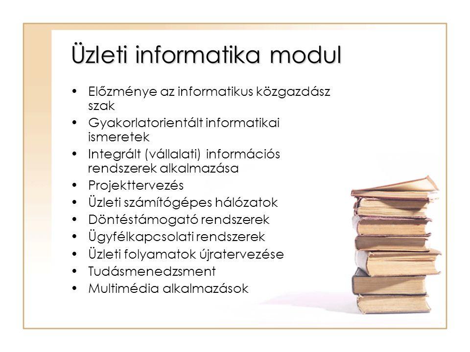 Üzleti informatika modul Előzménye az informatikus közgazdász szak Gyakorlatorientált informatikai ismeretek Integrált (vállalati) információs rendszerek alkalmazása Projekttervezés Üzleti számítógépes hálózatok Döntéstámogató rendszerek Ügyfélkapcsolati rendszerek Üzleti folyamatok újratervezése Tudásmenedzsment Multimédia alkalmazások