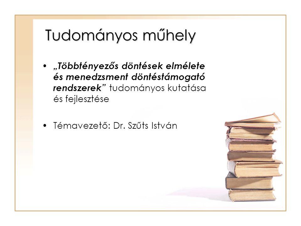 """Tudományos műhely """"Többtényezős döntések elmélete és menedzsment döntéstámogató rendszerek tudományos kutatása és fejlesztése Témavezető: Dr."""