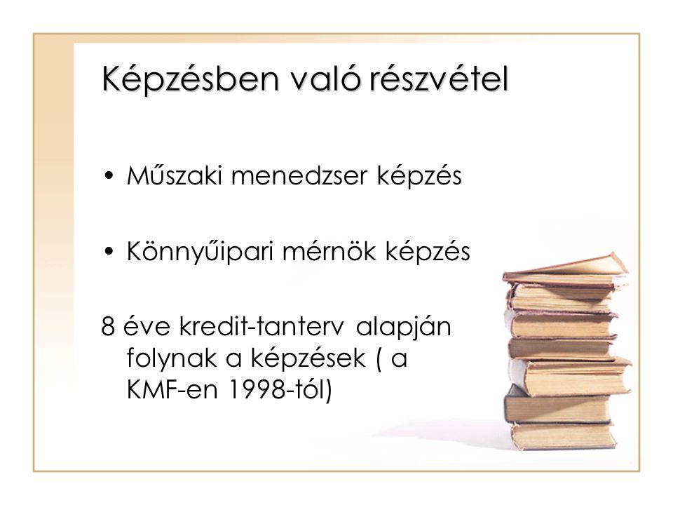 Képzésben való részvétel Műszaki menedzser képzés Könnyűipari mérnök képzés 8 éve kredit-tanterv alapján folynak a képzések ( a KMF-en 1998-tól)