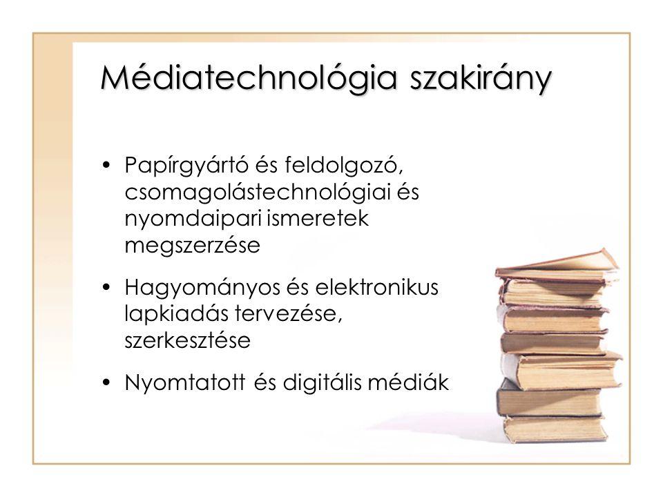 Médiatechnológia szakirány Papírgyártó és feldolgozó, csomagolástechnológiai és nyomdaipari ismeretek megszerzése Hagyományos és elektronikus lapkiadás tervezése, szerkesztése Nyomtatott és digitális médiák