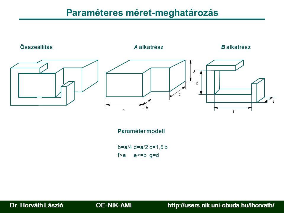Paraméteres méret-meghatározás Összeállítás b=a/4 e<=b c=1,5 bd=a/2 f>ag=d Paraméter modell a b c d Aalkatrész e f g B Dr.