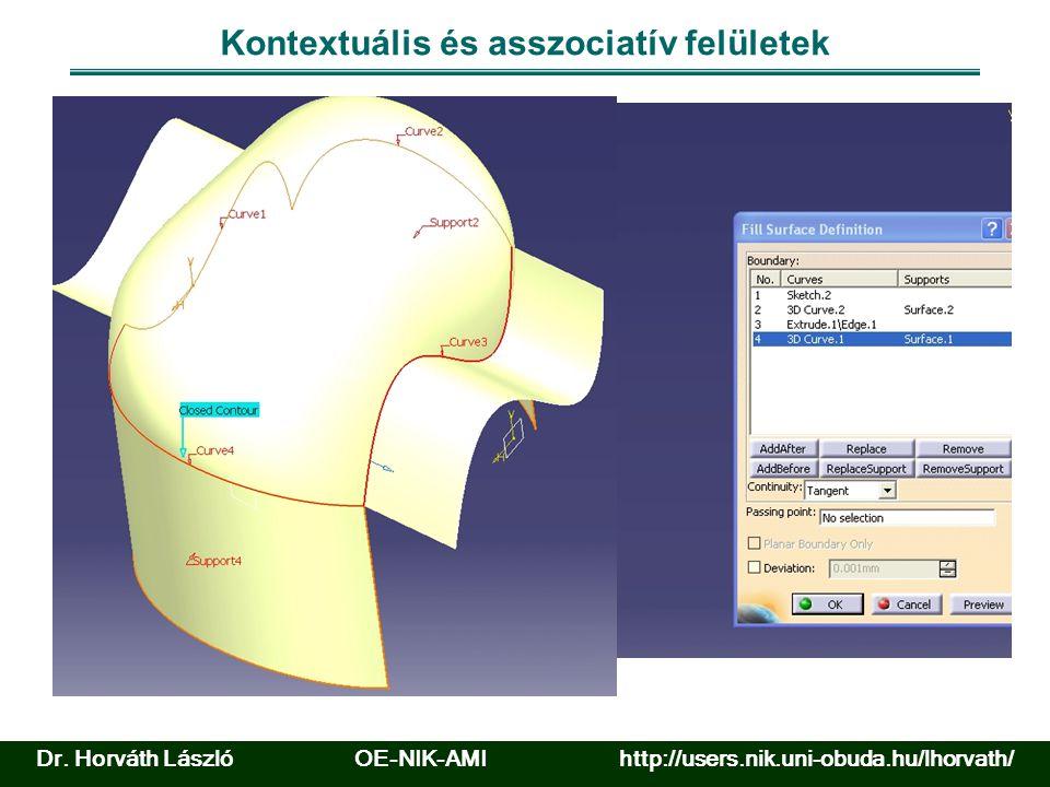Felület meghatározása pontfelhőből és görbékből Forrás: www.catia.com Dr.
