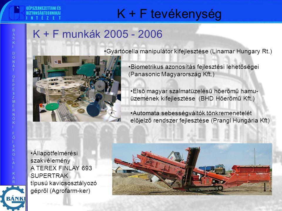 BÁNKIDONÁTGÉPÉSZMÉRNÖKIFŐISKOLAIKARBÁNKIDONÁTGÉPÉSZMÉRNÖKIFŐISKOLAIKAR Biometrikus azonosítás fejlesztési lehetőségei (Panasonic Magyarország Kft.) Gyártócella manipulátor kifejlesztése (Linamar Hungary Rt.) Első magyar szalmatüzelésű hőerőmű hamu- üzemének kifejlesztése (BHD Hőerőmű Kft.) Automata sebességváltók tönkremenetelét előjelző rendszer fejlesztése (Prangl Hungária Kft) K + F munkák 2005 - 2006 Állapotfelmérési szakvélemény A TEREX FINLAY 693 SUPERTRAK típusú kavicsosztályozó gépről (Agrofarm-ker) K + F tevékenység