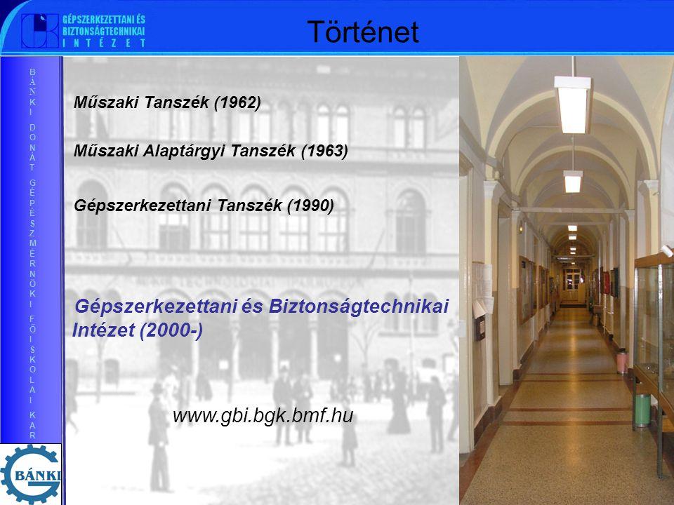 BÁNKIDONÁTGÉPÉSZMÉRNÖKIFŐISKOLAIKARBÁNKIDONÁTGÉPÉSZMÉRNÖKIFŐISKOLAIKAR Történet Műszaki Alaptárgyi Tanszék (1963) Műszaki Tanszék (1962) Gépszerkezettani Tanszék (1990) Gépszerkezettani és Biztonságtechnikai Intézet (2000-) www.gbi.bgk.bmf.hu
