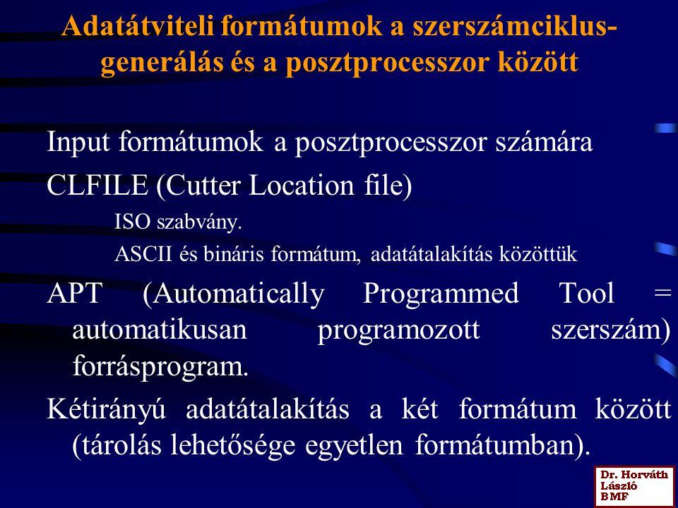 Adatátviteli formátumok a szerszámciklus- generálás és a posztprocesszor között Input formátumok a posztprocesszor számára CLFILE (Cutter Location file) ISO szabvány.