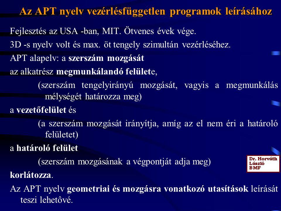 Az APT nyelv vezérlésfüggetlen programok leírásához Fejlesztés az USA -ban, MIT.